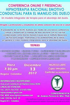 Conferencia Online y Presencial - Hipnoterapia Racional Emotivo Conduntual para el Manejo del Duelo